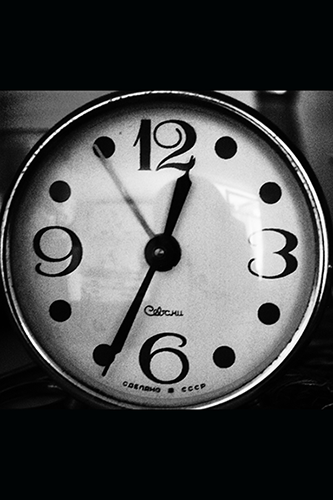 A clock in black and white